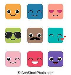 幸せ, ベクトル, セット, emoji