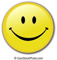 幸せ, ボタン, smiley, バッジ, 顔