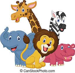 幸せ, 動物, サファリ, 漫画