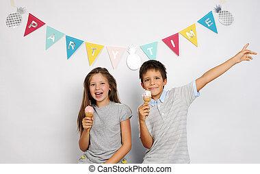 幸せ, 子供, アイスクリーム