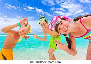 幸せ, 子供, 浜