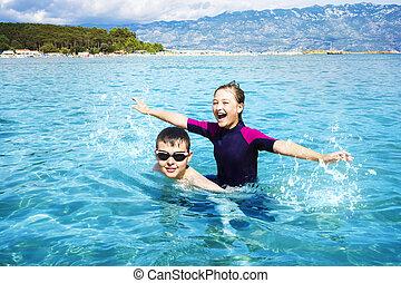 幸せ, 子供, 海洋, プレーしなさい