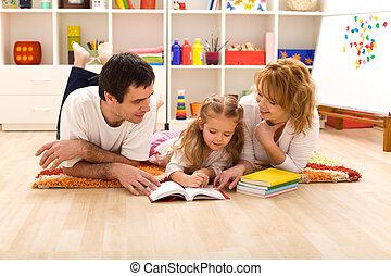 幸せ, 子供 部屋, 家族, 読書