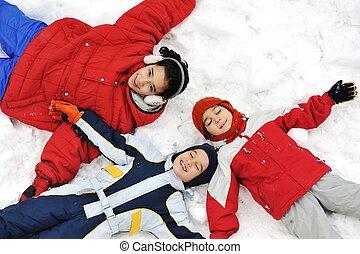 幸せ, 子供, 雪