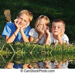 幸せ, 屋外, 自然, 子供