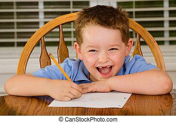 幸せ, 彼の, 宿題, 子供