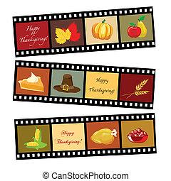 幸せ, 感謝祭, フィルムの ストリップ