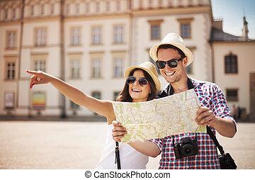 幸せ, 観光客, 都市 地図, 観光