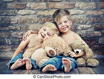 幸せ, 遊び, 兄弟, 2, おもちゃ