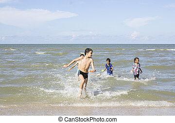 幸せ, 遊び, 子供, 海洋