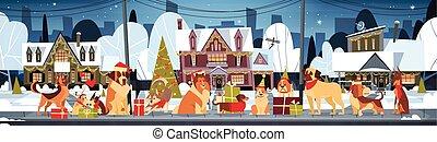 幸せ, 飾られる, 屋外で, santa, 犬, 家, 結婚しなさい, 帽子, 新年, クリスマス, 横, グループ, ポスター