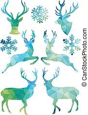 幾何学的, クリスマス, ベクトル, 鹿