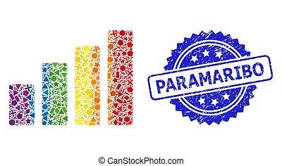 幾何学的, paramaribo, スペクトル, 苦脳, コラージュ, バー, 切手, チャート