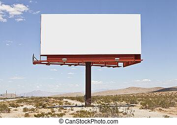 広告板, 大きい, 砂漠, ブランク