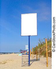 広告, 浜, 空
