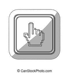 広場, シルエット, 指すこと, ステッカー, の上, 手, pixelated, モノクローム, ボタン