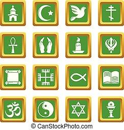 広場, セット, アイコン, 宗教, ベクトル, 緑