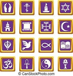 広場, セット, アイコン, 紫色, 宗教, ベクトル