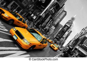 広場, 動き, タクシー, ぼやけ, 都市, 時, ヨーク, フォーカス, 新しい