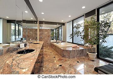 床, マスター, 大理石, 浴室