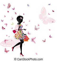 店, 女の子, 花