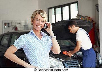 店, 自動車, 女, 修理