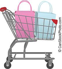 店, 袋, 買い物, 大きい, カート, 行きなさい, 小売り