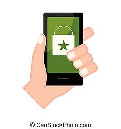 店, smartphone, app, 手の 保有物, オンラインで
