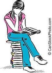 座っている少女, ティーネージャー, イラスト, 読む本