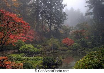 庭の日本人, 朝, 秋, 霧が濃い, 1(人・つ)