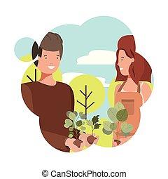 庭師, 恋人, 特徴, avatar, 風景