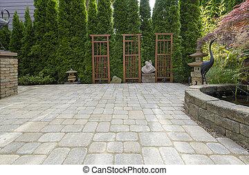 庭, ペーバー, 装飾, 裏庭, 池, 中庭