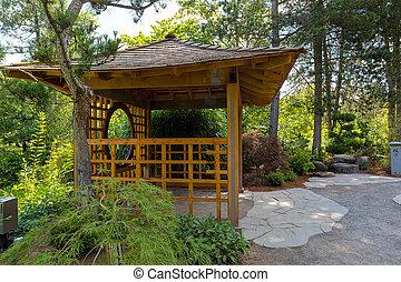 庭, 木製である, 島, 日本語, gazebo, tsuru