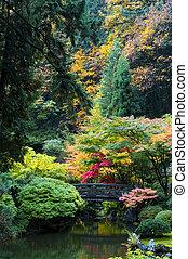 庭, 木製である, 日本語, オレゴン, ポートランド, 橋
