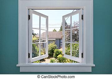 庭, 背中, 窓, 小さい, shed., 開いた