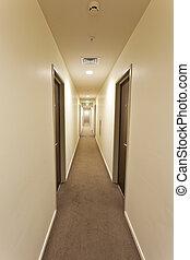廊下, ホテル, 長い間, 印, 出口, ドア, 部屋