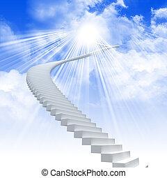 延長, はしご, 白い空, 明るい