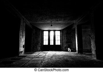 建物内部, 産業, 古い, 捨てられた
