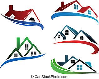 建物, シンボル, 屋根, 家