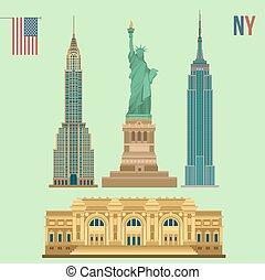 建物, セット, 像, 大都市である, buildings:, 博物館, 芸術, 有名, 州, ヨーク, クライスラ, 新しい, 帝国, 建物, 自由
