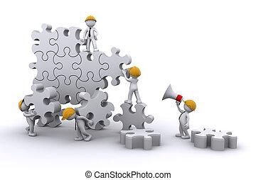 建物, ビジネス, 成長, concept., 仕事, puzzle., チーム