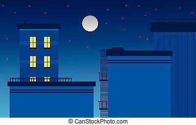 建物, ベクトル, 芸術, 風景, 夜