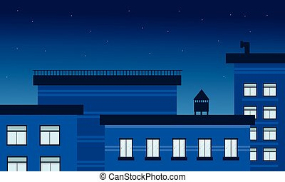 建物, ベクトル, 風景, イラスト, 夜