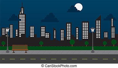 建物, 夜, 公園, 通り