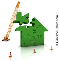 建物, 家, 緑