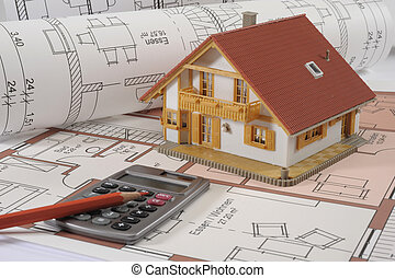 建物, 家, 青写真