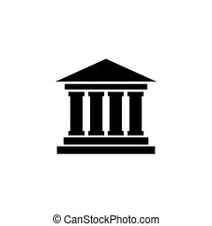 建物, 平ら, ベクトル, 法廷, アイコン