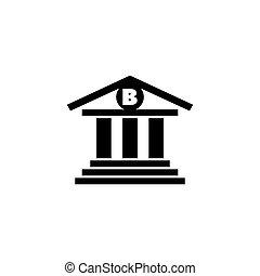 建物, 平ら, ベクトル, 銀行, アイコン