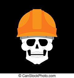建物, 建築者, 頭骨, 頭, helmet., スケルトン