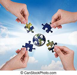 建物, 概念, ビジネス, 困惑, 手, 地球